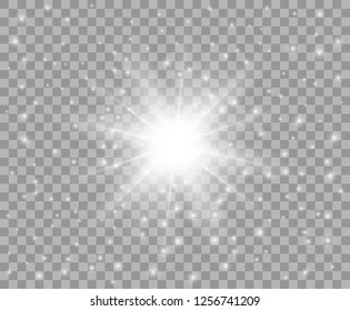Glowing white transparent light with the dust. Vector Christmas star, a bright flash of light. Glitter element on isolated transparent background. With the possibility of overlay.