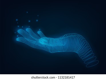 A glowing wire of dots hand, holding or demonstrating something virtual hand, a hologram