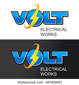 Glowing word VOLT with lightning and an inscription - ELECTRICAL WORKS. Vector illustration.
