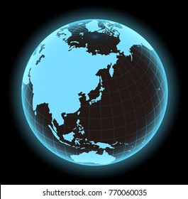 glowing world map vector illustration (globe / sphere). focus on Japan and east asia.