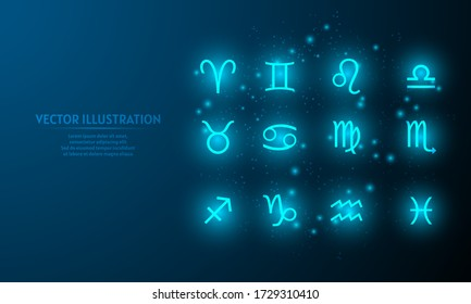 Glowing zodiac icon on blue abstract background. low poly zodiac icon backgraound. lines and triangles on blue background.