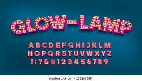 Glow-Lamp alphabet font. 3D letters and numbers with light bulbs and shadows. Vector typescript for your design.
