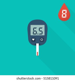 Glucometer flat icon isolated. Testing glucose. Blood sugar readings. Medical measurement apparatus. Diagnostic equipment. Healthcare monitoring, concept. Vector illustration. Diabetic instrument.