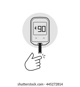 Glucometer vector illustration isolated on white, flat line outline diabetes blood glucose test measurement equipment, black white style
