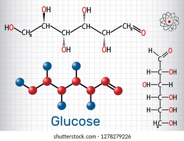 Glucose (dextrose, D-glucose) molecule. Linear form. Sheet of paper in a cage. Structural chemical formula and molecule model. Vector illustration