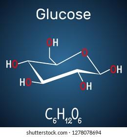 Glucose (dextrose, D-glucose) molecule. Structural chemical formula on the dark blue background. Vector illustration