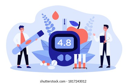 Glucose level and diabetes concept. Doctors with glucometer and lab tubes checking blood for sugar. Vector illustration for health, medical test, hypoglycemia topics
