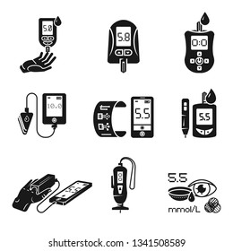 Glucose meter icons set. Simple set of glucose meter vector icons for web design on white background