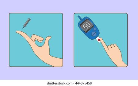 Glucose metere instruction for use vector illustration