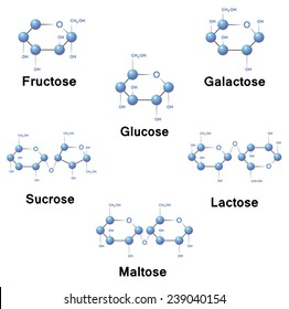 Glucose molecule strucure, biochemistry, chemistry, vector illustration.