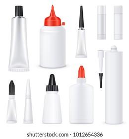 Glue black red white nozzles on white blank bottles tubes sticks realistic templates set isolated vector illustration