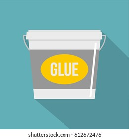 Glue bucket icon. Flat illustration of glue bucket vector icon for web isolated on baby blue background