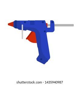 Glue gun vector adhesive icon craft equipment tool. Hot repair work appliance silicone. Affix blue pistol sealant paste