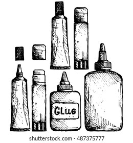 Glue icon set. Vector illustration, doodle style