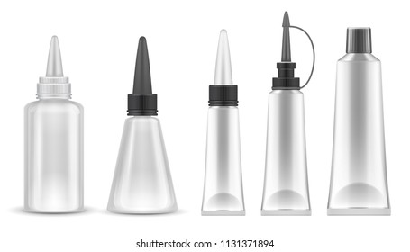 Glue packing. Realistic tubes and bottles for adhesive, tooth paste and cosmetic products. Isolated vector set. Container tube stick, bottle cosmetic illustration