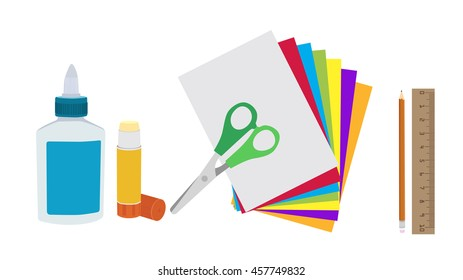 Glue, paper and scissors isolated flat vector. Kids art and craft paper applique supplies.