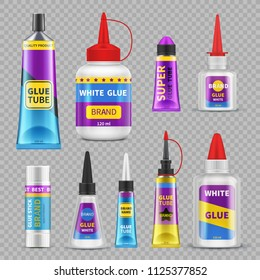 Glue sticks. Adhesive super glue tubes and bottles. Realistic isolated vector set of glue tube and bottle illustration