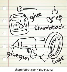 glue thumbtack and tape