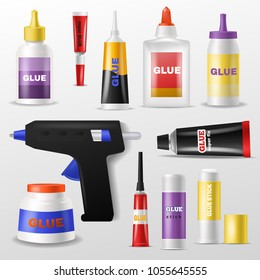 Glue vector gluestick and gluely liquid in bottle or plastic tube for glueing paper illustration set of superglue for fixing isolated on white background