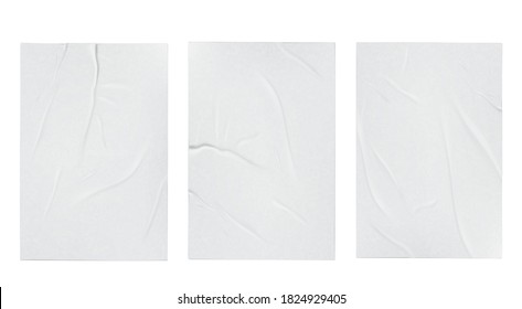 Glued badly wrinkled crumpled paper sheet template set mock up white background poster realistic vector illustration