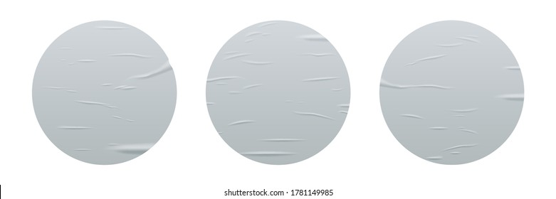 Glued round stickers set isolated on white background. Vector realistic crumpled posters bundle. Wet greased wrinkles blank template texture. Empty advertising circles mockup for creative design
