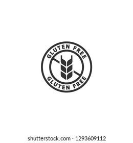 Gluten free black isolated label. No gluten, gluten free circle label vector sticker.