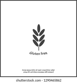 Gluten free. Ears of wheat, cereal. Ear of oats. rye ears on white isolated background. Layers grouped for easy editing illustration. For your design.