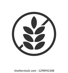 Gluten Free Food Allergy Product Dietary Label Flat Vector Icon for Apps and Websites - Vector