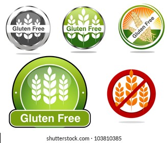 Gluten free food labels collection. Beautiful bright colors.