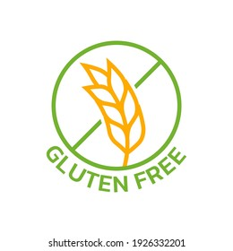 Gluten free icon with grain or wheat symbol. Food allergy label or logo. Vector illustration.