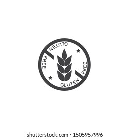 gluten free icon, gray color, round, wheat illustration and text, vector