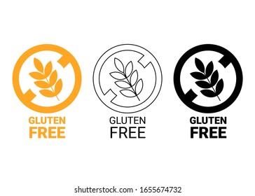 Gluten free icon. Isolated no grain symbol. Yellow, outline and black icon. Vector