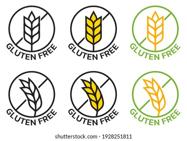 Gluten free icon set with grain or wheat symbol. Food allergy label or logo collection. Vector illustration.