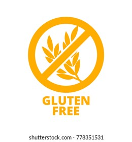 Gluten free icon. Vector round badge