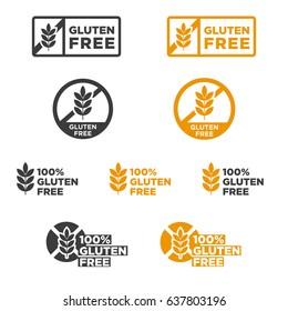 Gluten free icons set. Vector illustration.