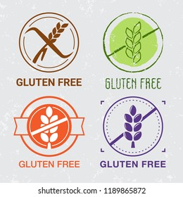 Gluten free icons. Сeliac signs. Free of wheat, gluten product. Gluten free marks for foodstuffs. Nutrition and holistic labels. Healthy food icons. Different styles
