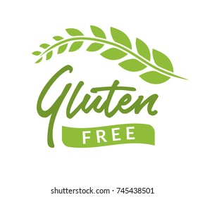 Gluten free isolated drawn sign icon. Healthy lettering symbol of gluten free phrase