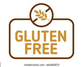 Gluten free label vector. Gluten intolerance badge isolated on white.
