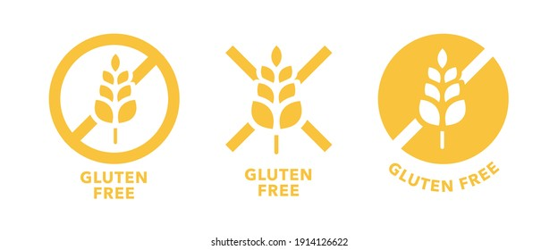 Gluten free logo label or no wheat. Icon template for gluten free food package or dietetic product yellow signs set.