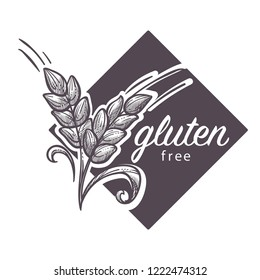Gluten free logo, monochrome sketch outline with wheat vector. Nutrition control for health life, dieting and dietary regulations prohibition. Cereals menu, eating grains, eco products consumption