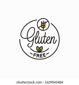 Gluten free logo. Round linear logo of gluten wheat on white background