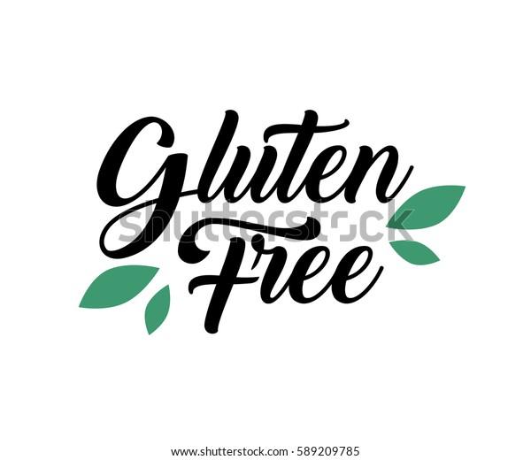 グルテンフリーの自然の自然の手書きの文字 葉のロゴ 食料品 店 包装 広告用のラベルバッジ スプラッシュロゴデザイン ベクターイラスト 白い背景 のベクター画像素材 ロイヤリティフリー
