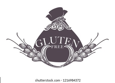 Gluten free products, poster with wheat vector. Monochrome sketch outline with crop, dietary healthy nutrition. Organic meal, sensitivity to ingredients, control of healthcare, eating restrictions