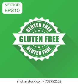 Gluten free rubber stamp icon. Business concept no gluten healthy stamp pictogram. Vector illustration on green background with long shadow.