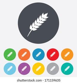 Gluten free sign icon. No gluten symbol. Round colourful 11 buttons. Vector