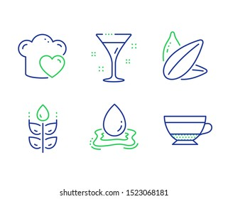 Gluten free, Sunflower seed and Water splash line icons set. Love cooking, Cocktail and Dry cappuccino signs. Bio ingredients, Vegetarian food, Aqua drop. Chef hat. Food and drink set. Vector
