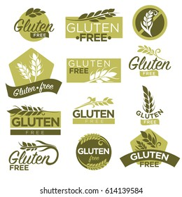 Gluten free vector healthy dietetic product icons and labels