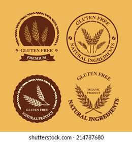 Gluten free and wheat labels. Retro design.