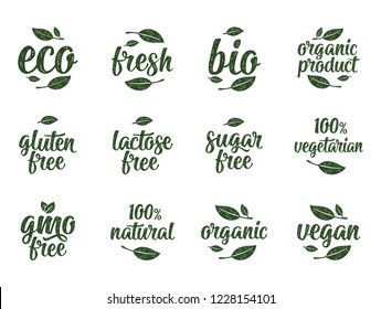Gluten, lactose, sugar, Gmo free, bio, eco, fresh calligraphic handwriting lettering with leaf, cube, drop. Vector white vintage illustration on white. Sign for 100% natural organic food sticker