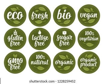 Gluten, lactose, sugar, Gmo free, bio, eco, fresh, vegan, vegetarian calligraphic lettering with leaf, cube, drop. Vector white vintage illustration on green circle sticker. Sign 100% organic food